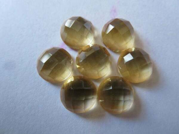 Wholesale Lot Natural Citrine Round Checker Cut Loose Gemstones 7X7MM To 10X10MM