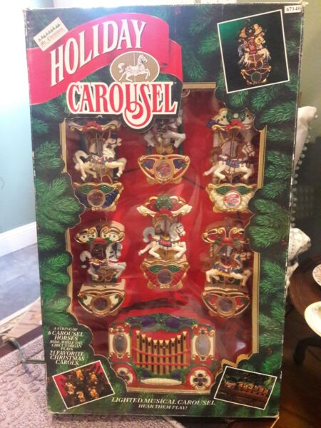 Mr Christmas Holiday Carousel Light Musical 6 Horses Circus Organ 21 Songs