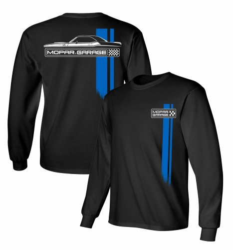 Mopar Garage Dodge Challenger Long Sleeve Black 100% Cotton T Shirt