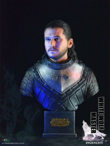 BY-ART 12 BY011 White Wolf Master Jon Snow Game of Thrones Statue Toys Presale