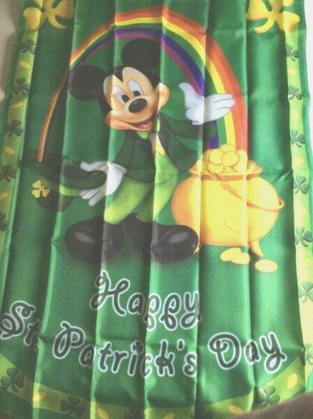 St.Patrick's Day Mickey Mouse Hamilton Collection house flag  28x40 New with Coa