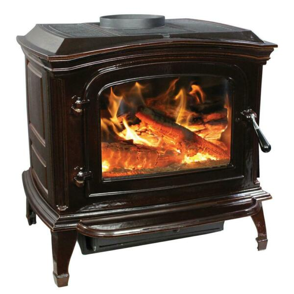 Breckwell Cast Iron Wood Stove Mahogany Enamel Porcelain Fireplace Refurbished $1500.00
