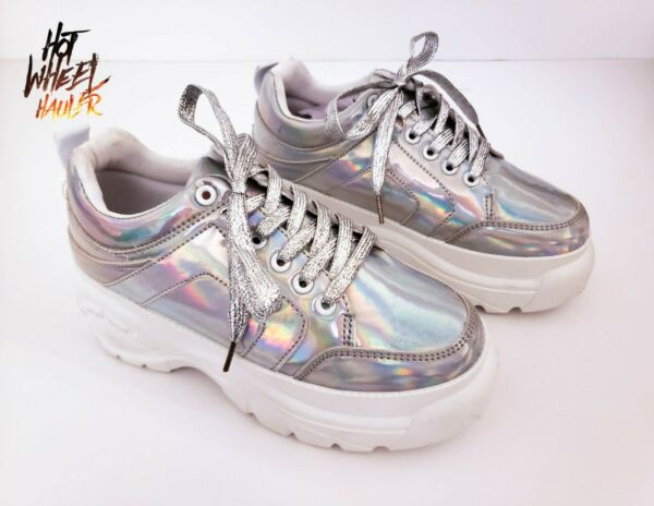 Womens Ladies Chunky High Platform Trainers Sneakers Silver Iridescent Rave Fest
