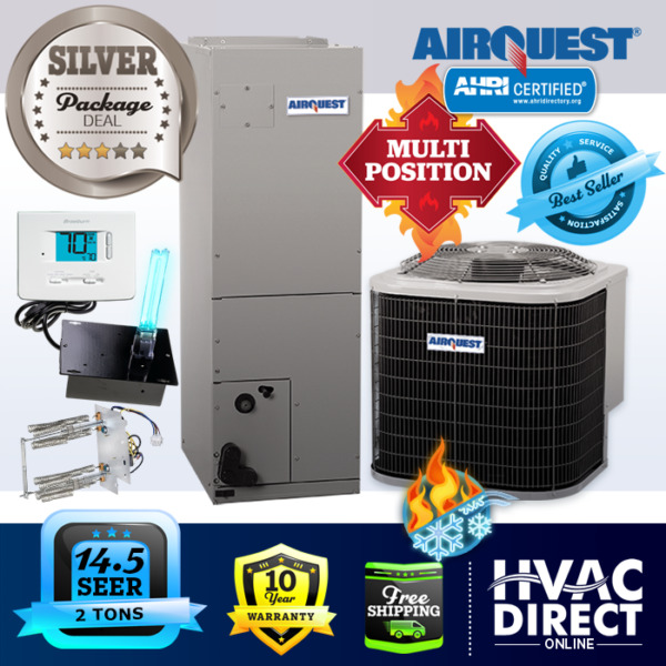 2 Ton 14.5 SEER AirQuest Heil by Carrier AC Heat Pump System Heat Kit amp; T Stat $1892.00