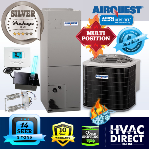 3 Ton 14 SEER AirQuest Heil by Carrier AC Heat Pump System Heat KitT StatUV $2240.00
