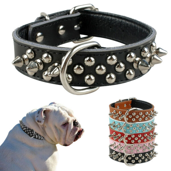PU Leather Dog Collar Spiked Studded Soft Padded Adjustable for French Bulldog $7.99