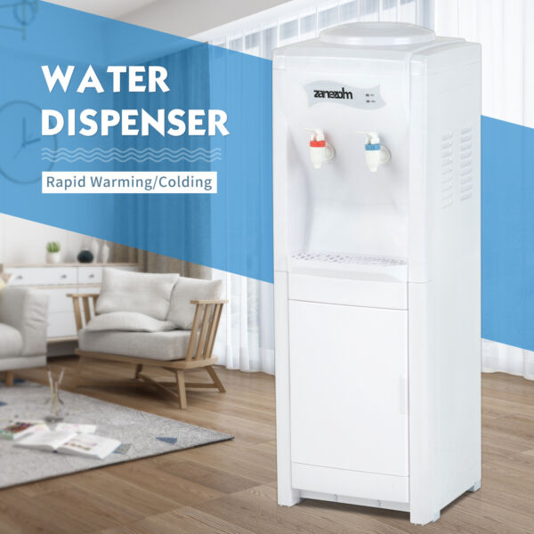 Water Cooler Dispenser Top Loading Hot&Cold Bottle with Storage Cabinet 5 Gallon