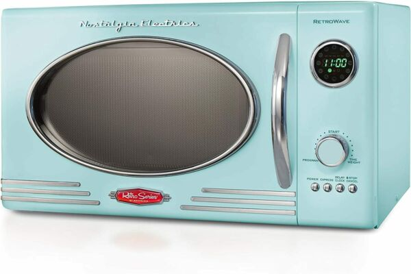 Aqua Retro Styled Counter Top Microwave Oven