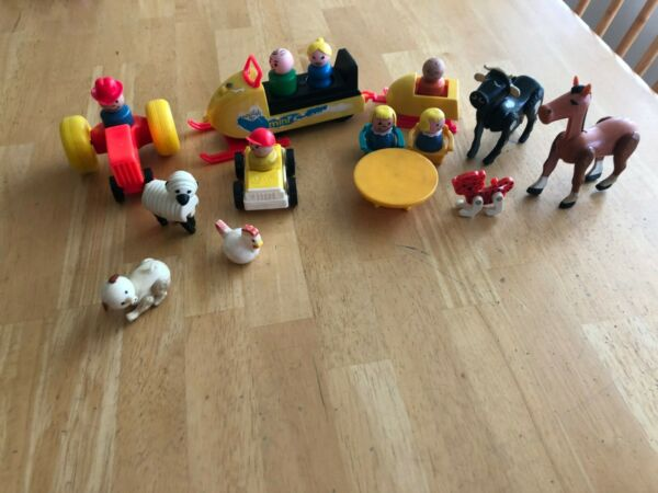 Vintage Fisher Price Little People Assorted Lot Snow Mobile People Tractor 20 pc