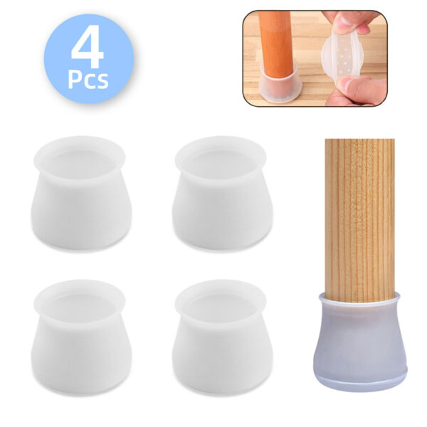 4x Non-Slip Rubber Chair Leg Furniture Table Feet Cap Pad Cover Floor Protectors