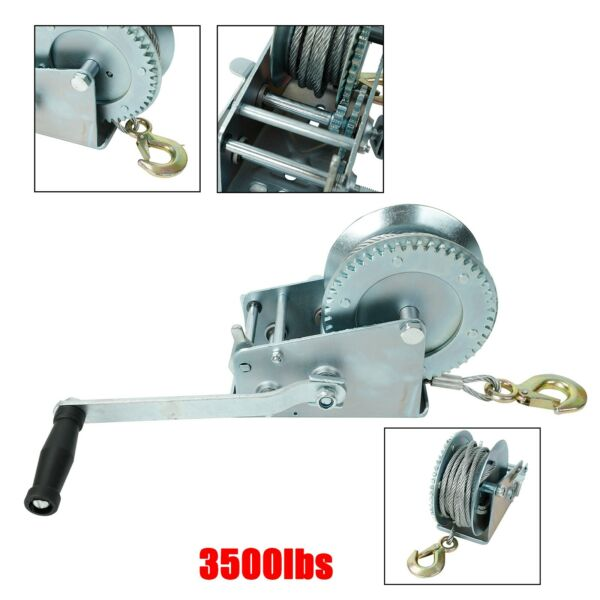 3500lbs Dual Gear Hand Winch Hand Crank Manual Boat ATV RV Trailer 33ft Cable 32 $41.99