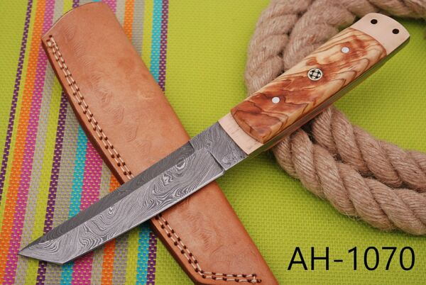 HAND FORGED DAMASCUS STEEL TANTO POINT HUNTING KNIFE amp;OLIVE WOOD HANDLE AH .1070
