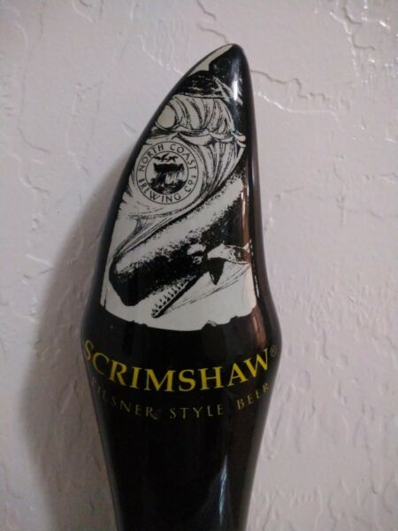 "NORTH COAST BREWING CO SCRIMSHAW BEER TAP HANDLE BLACK WHALE TOOTH - 9"" TALL"