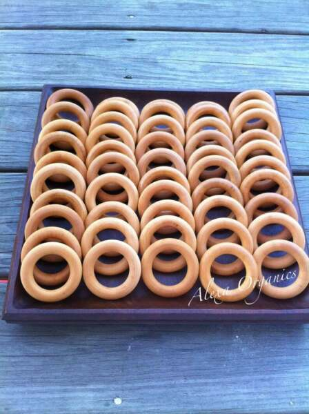 SAMPLE Natural USA Maple Hardwood Wooden Teething Ring Treated with