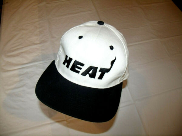 Miami Heat White Hat Black Brim SGA Adult Snapback 100% Cotton EXC $11.56
