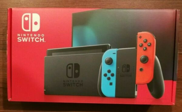New Version Nintendo Switch 32GB Console w Neon Blue amp; Neon Red Joy Con HAC 001
