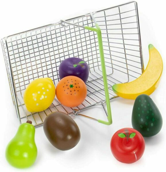 My Healthy Shopping Basket Produce Set 8 Pcs of Wooden Food Toys with Metal Ba
