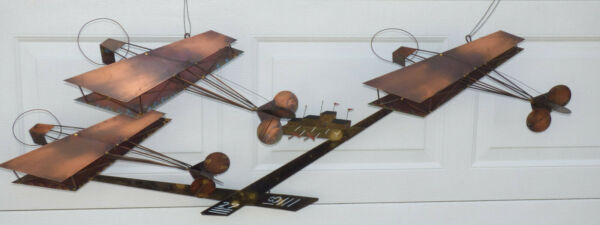 Curtis Jere Metal Wall Sculpture Airfield Biplane Airplane MCM Brutalist Signed