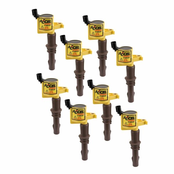 0.00140033 Accel  Igntion Coil  05-14 Ford 4.6L5.4L6.8L 3-v Yellow 8-Pk