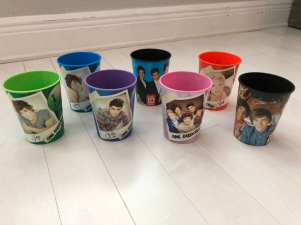 Set of 7 One Direction 1D Hard Plastic Printed 16 oz Cups Zayn Harry Liam Niall
