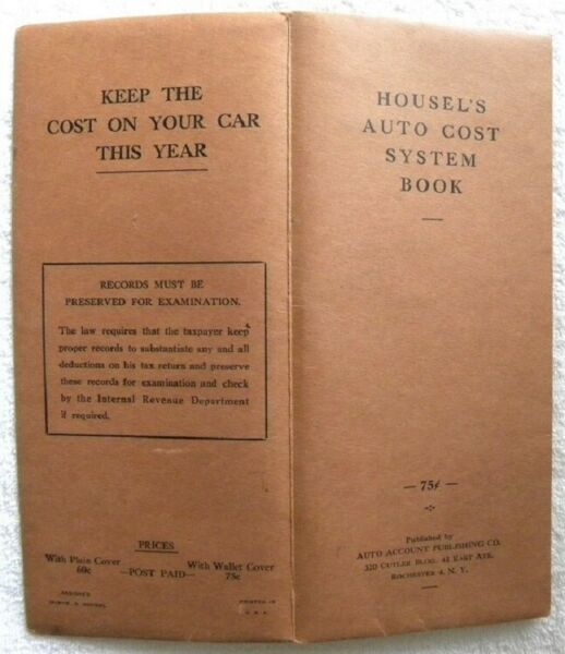 1962 Housel#x27;s Auto Cost System Expense Book D. Blum Grundy Center Iowa IA $9.99