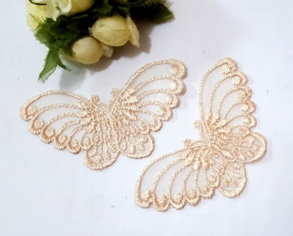 3-100 pcs Small Ivory Butterfly Lace Patch Craft Appliques Motif Sew on A15