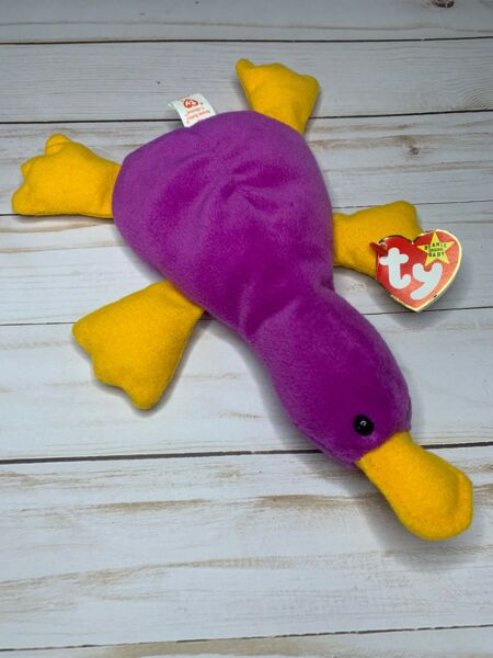 Ty Beanie Baby Patti Platypus Magenta With Tag Errors PVC Pellets- Very Rare!!