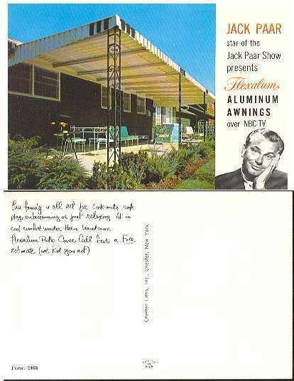 pc268 postcard Jack Paar Advertising Aluminum Awnings MOBSC