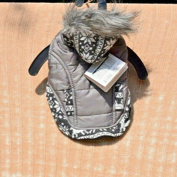 Outdoor Dog Pattern Detail Gray Coat w Faux Fur Trim Pet Dog Extra Small XS $14.30