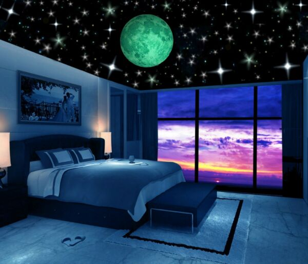 Glow in the Dark Stars w Big Moon-Perfect Gift Wall Decal Stickers Room decor