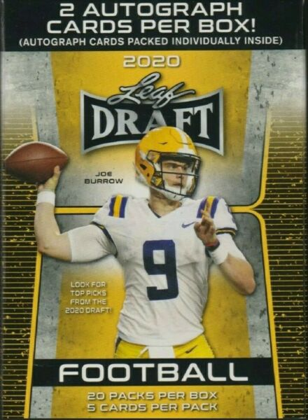 NEW 2020 NFL Leaf Draft Football UNOPENEDSEALED PACK(S) 5 ctpack 2 AUTOBOX!