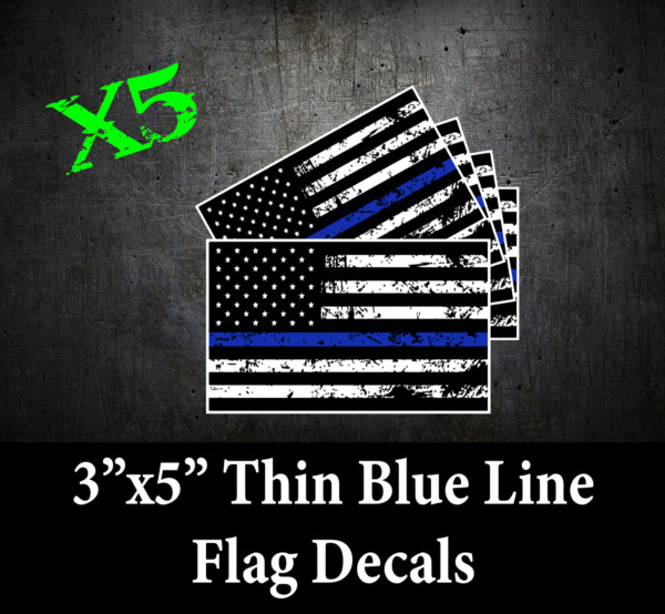 Police Thin Blue Line Decal American Flag sticker Law Enforcement Officer USDM $1.50