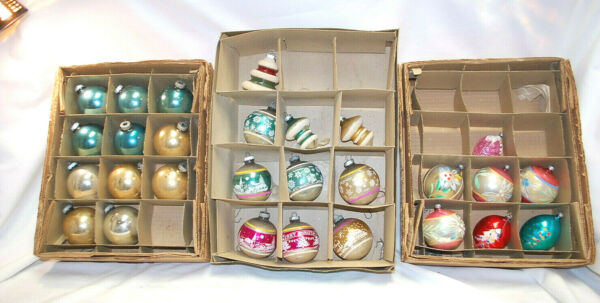 Shiny Brite & More Vintage Assorted Glass Christmas Ornaments 28-Total  X1212