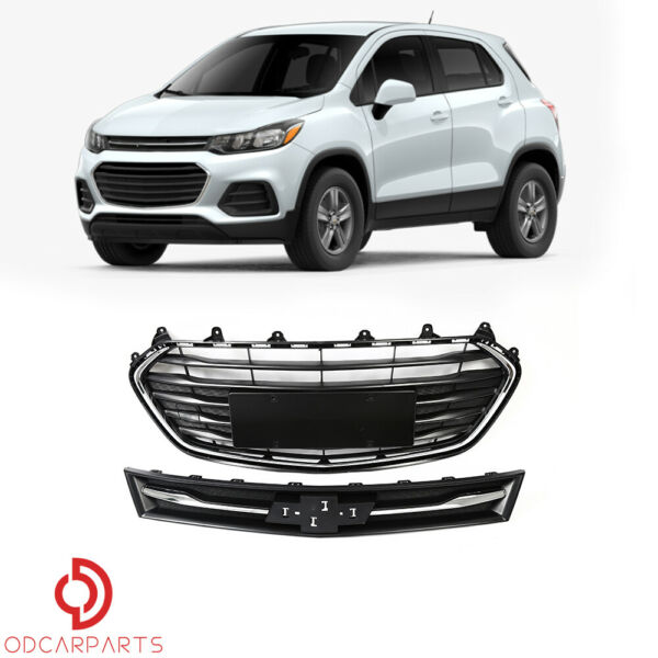 Fits Chevrolet Trax 2017 2021 Front Upper and Lower Grille Grill Set 2PCS