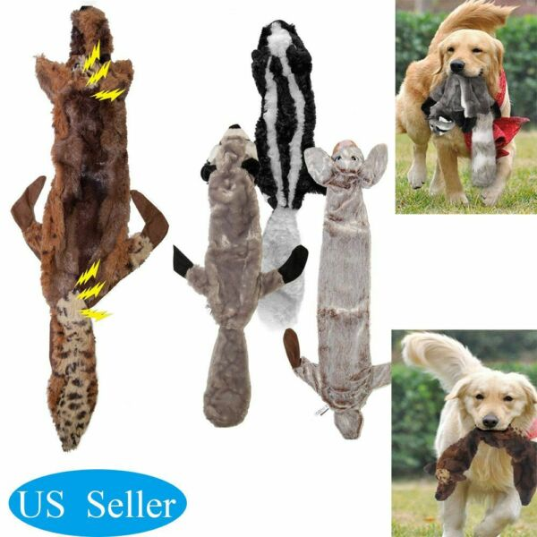 Dog Chew Plush Toys Cute Puppy Squeaky Training Toy Rabbit Squirrel Pet Supplies $5.79