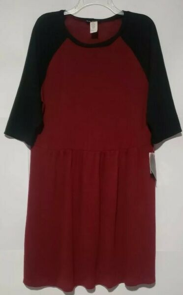 Paper Doll Womens Dress A-Line Red Colorblock Knit Pullover Plus 2X NEW