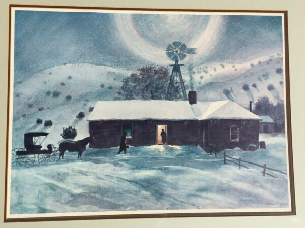 Peter Hurd Signed Litho Horse & Buggy Doctor Making a House Call in the Snow