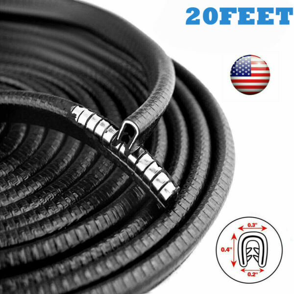 20FT Car Door Trim Edge Strip Lock Guard Moulding Rubber Seal Protector Black $10.25