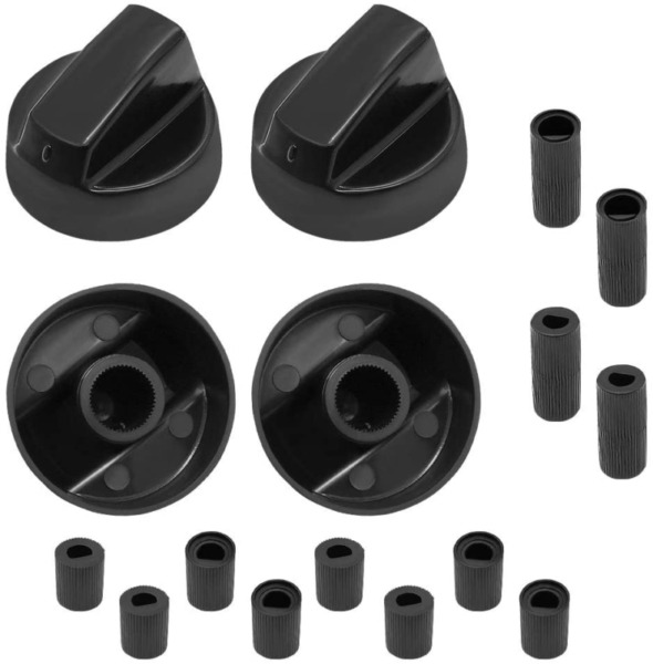 AMI PARTS Black Oven Control Switch Knob with 12 Adapters Universal Knobs for Ov