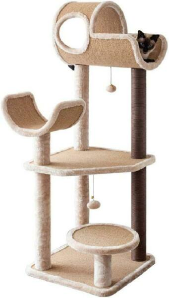Catry Large Cat Tree Tower with Scratching Posts Hammock Tunnel for Multiple Ca