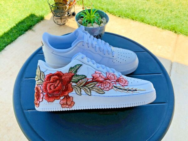 Nike Air Force 1 One Custom Red Rose Embroidery