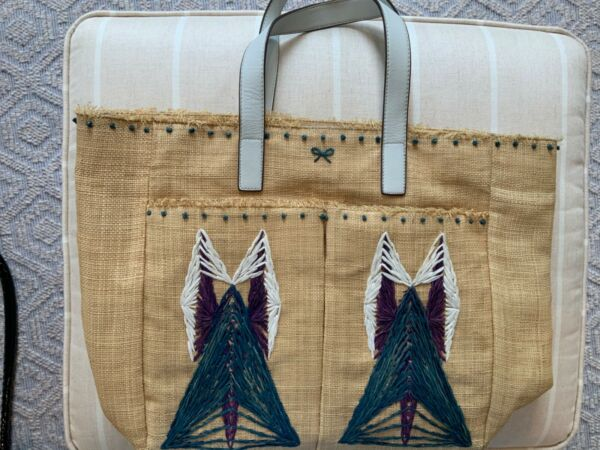 anya hindmarch refined burlap tote leather handles inside and front pockets