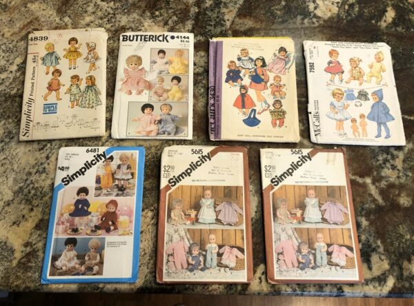 Your Choice Of Vintage Sewing Patterns Doll Clothes UNCUT cond.  Asst. Sizes EUC