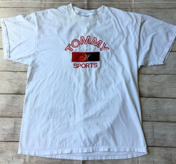 Vtg Tommy Sports Bootleg Embroidered T Shirt Size XL Spellout White $29.99