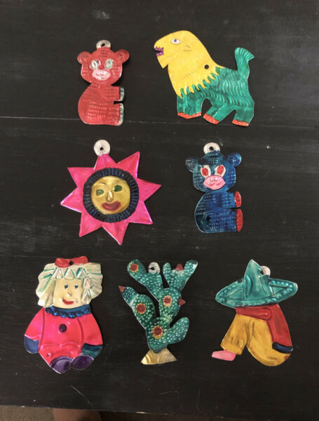 7 Vintage Mexican Tin Folk Art  Christmas Ornamentslionbearssun And More