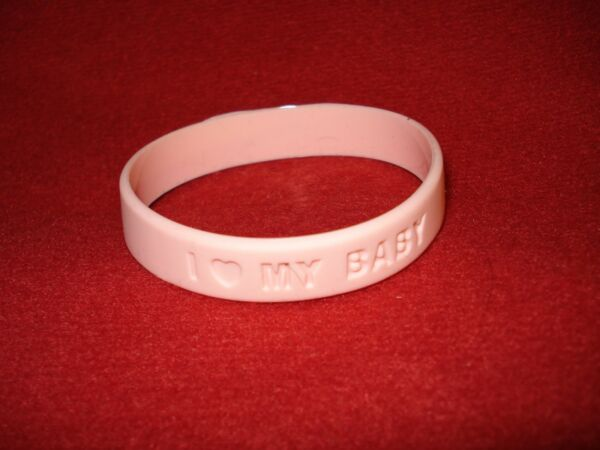 Pair of I Love Heart My Baby Bracelets 2 Baby Pink Silicone Rubber Bracelets $2.95