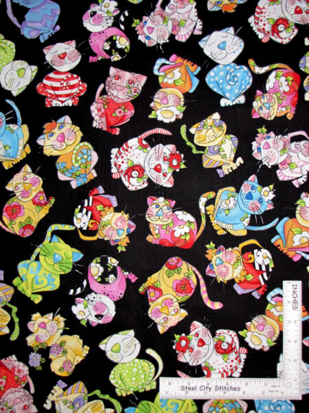 Calico Cats Kitty Cat Multicolor Black Cotton Fabric Loralie Designs By The Yard