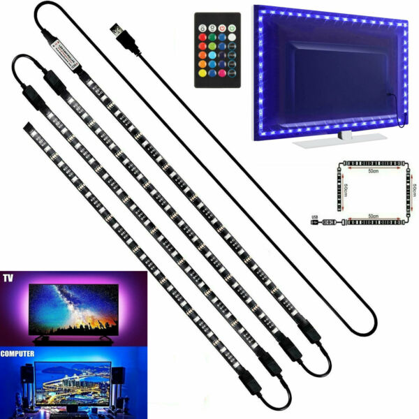 4 x 50CM TV LED Backlight USB 5050 RGB LED Strip Light Remote Kit 5V 30Leds M