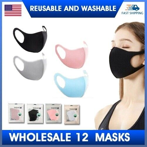12 PACK  LOT BLACK Pink Gray Blue Washable Reusable Face Cover Protective Masks