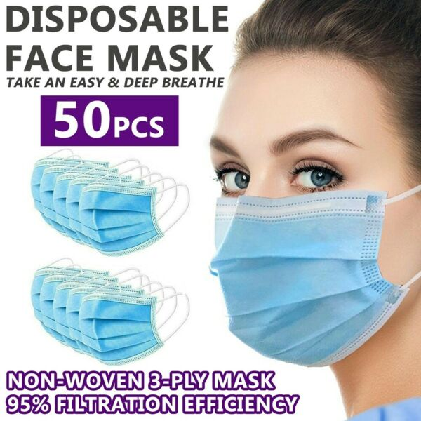 50 PCS Disposable Face Mask 3 Ply Non Medical Surgical Earloop Mouth Dust Cover